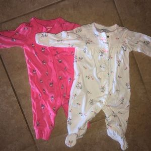 Two Carter's Girl's snap up sleepers size 3 month
